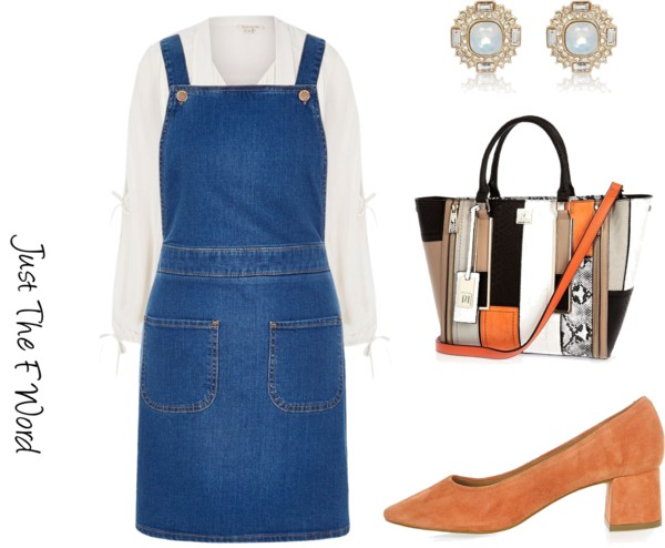 White shirt pinafore look