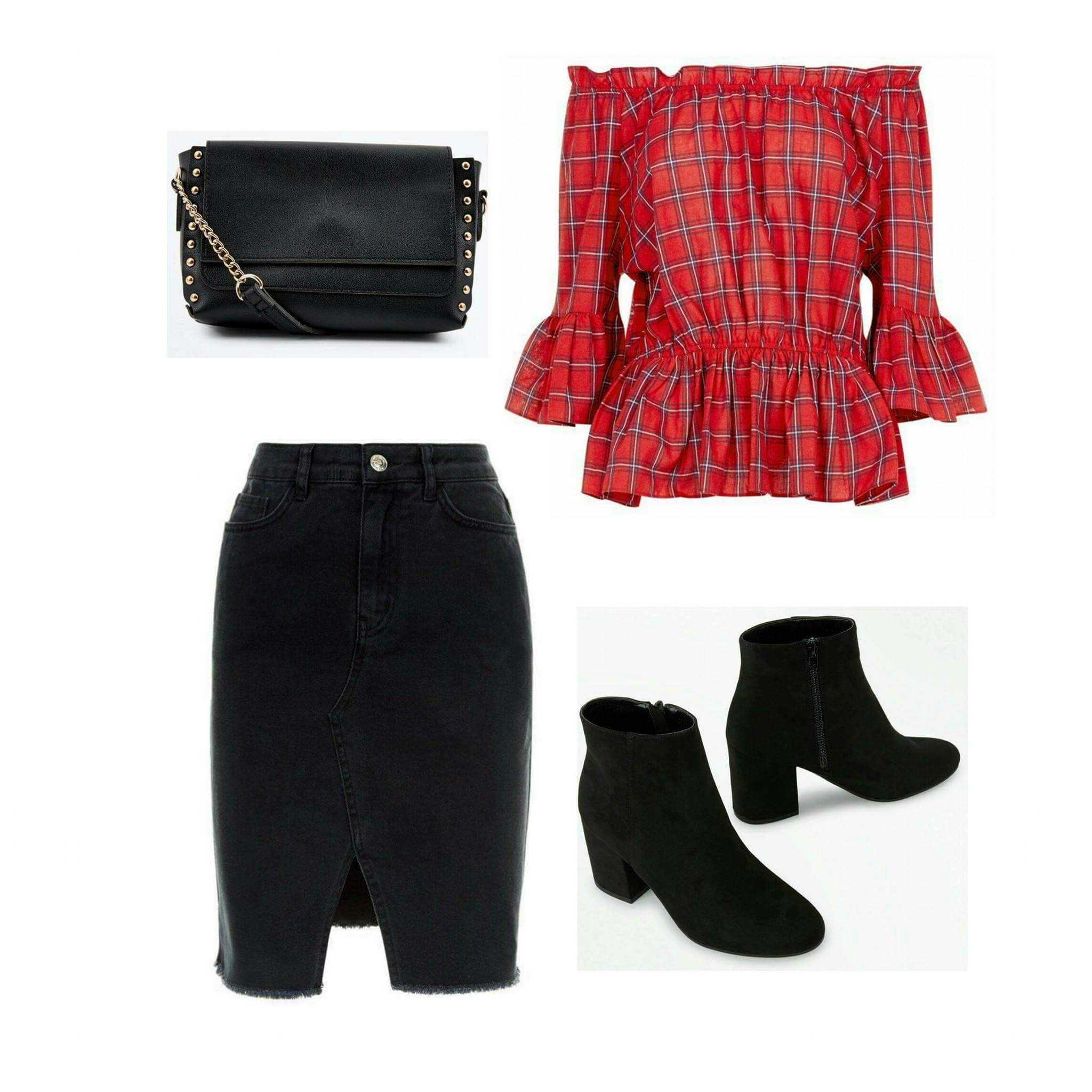New Look Tartan Peplum top