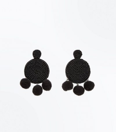 Round Beaded Pom Pom Earrings