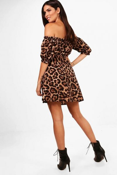 Off The Shoulder Leopard Dress