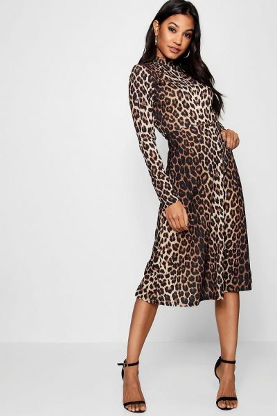 Long Sleeve Midi Leopard Dress