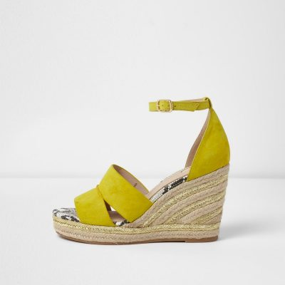 Yellow And Gold Espadrille Wedges