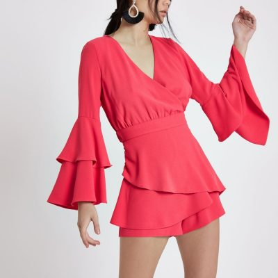Pink Frill Sleeve Skort Playsuit