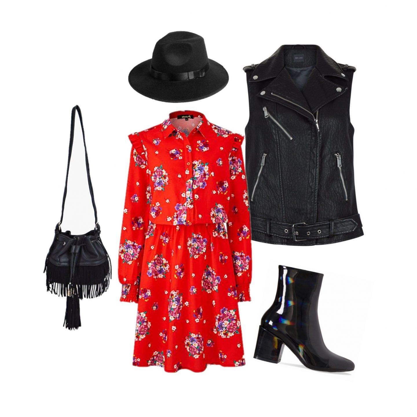 One Piece Ten Ways | Red Print Dress