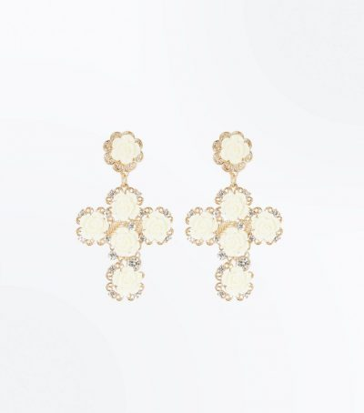 Cream Cross Earrings