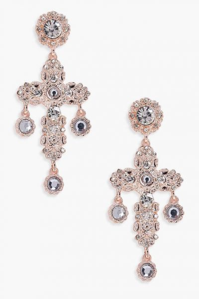 Rose Gold Diamante Cross Earrings