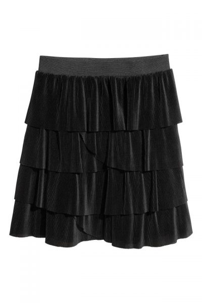 Black Pleated Tier Skirt