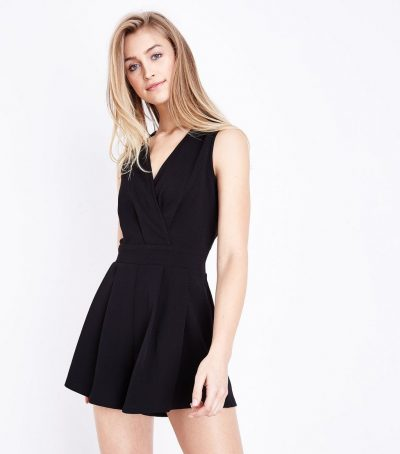 Black Sleeveless Wrap Playsuit