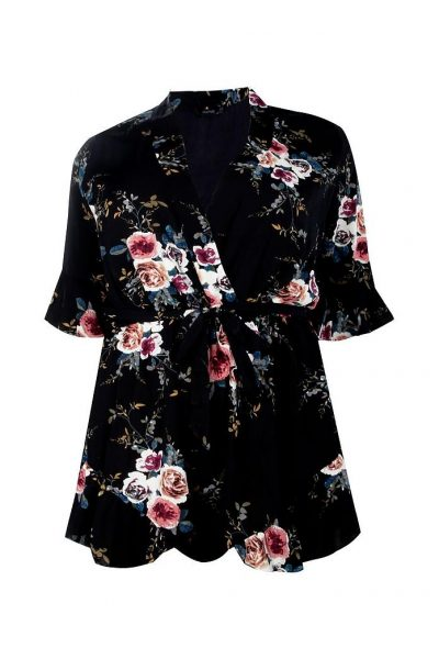 Floral Wrap Flounce Plus Playsuit