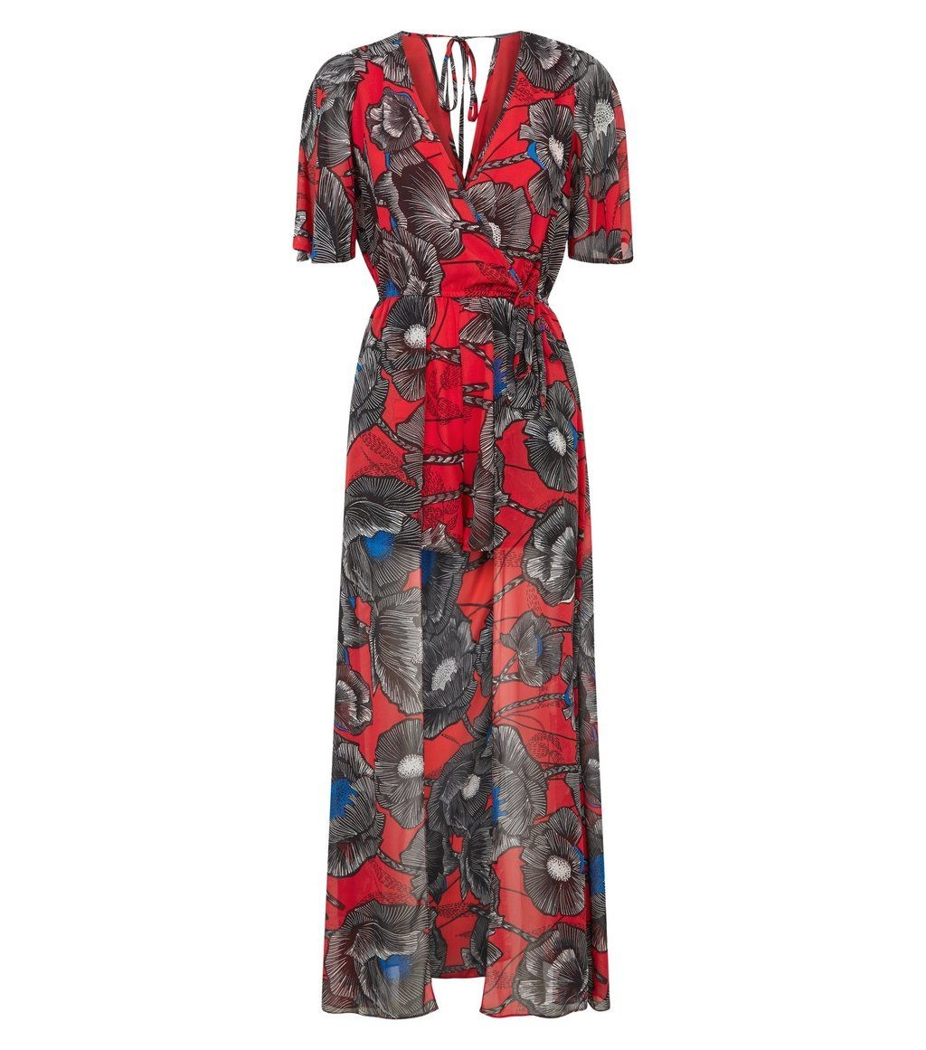 817d0ac56d5 red-floral-chiffon-dip-hem-maxi-playsuit - Just The F Word