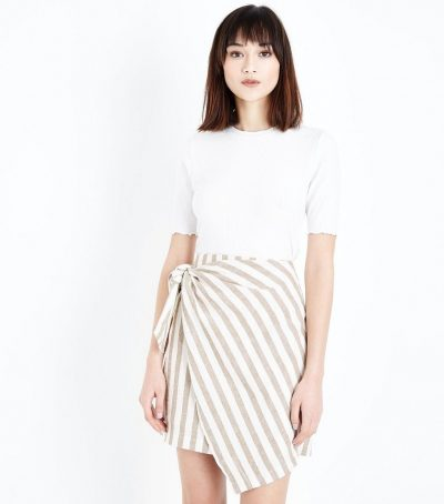 Stripe Linen Wrap Skirt