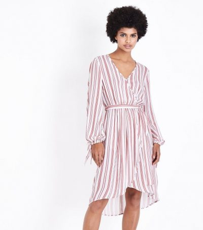 White Red Stripe Wrap Dress