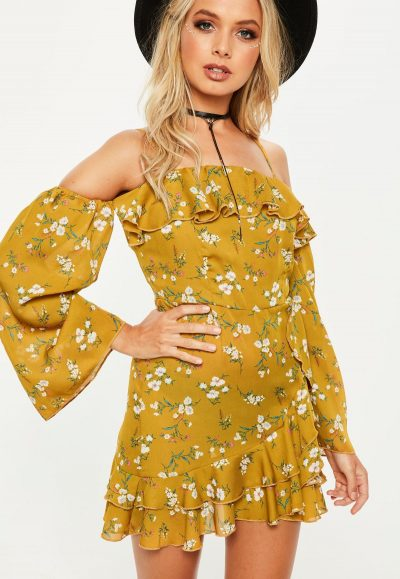 Yellow Bardot Print Wrap Dress