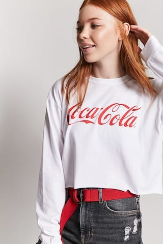Long Sleeve Crop Coke Tee