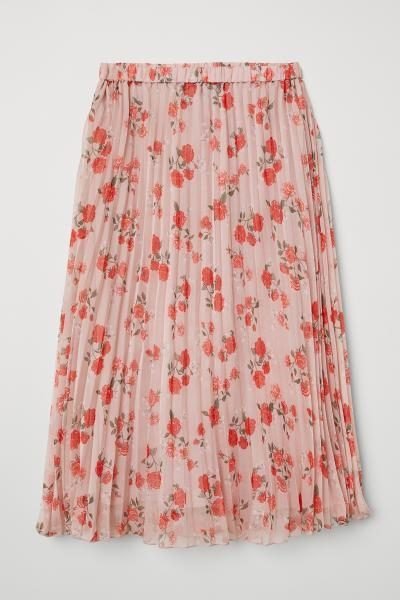 Pink Pleated Floral Skirt