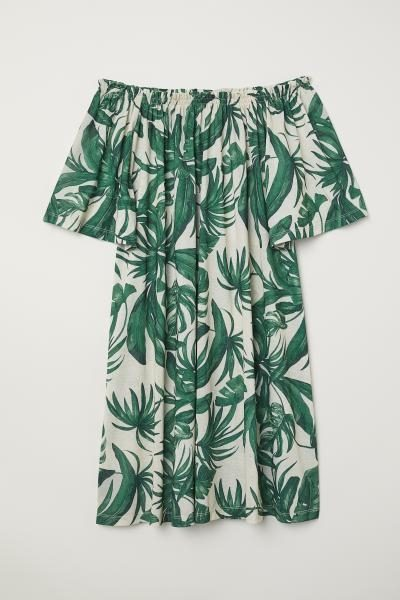 Leaf Print Bardot Dress