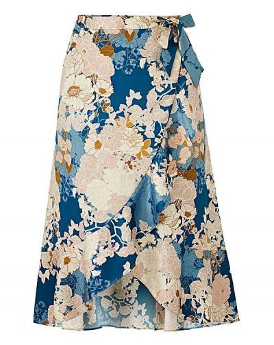 Blue Print Midi Wrap Skirt