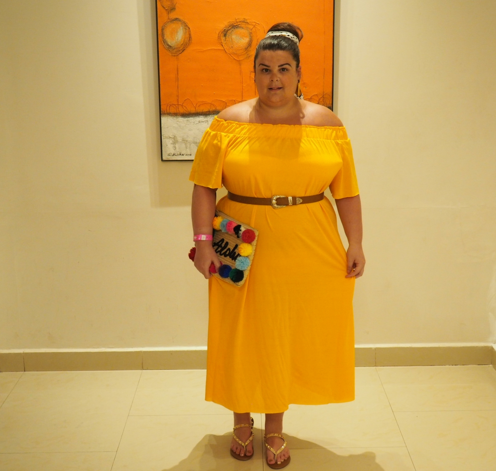 Yellow bardot midi