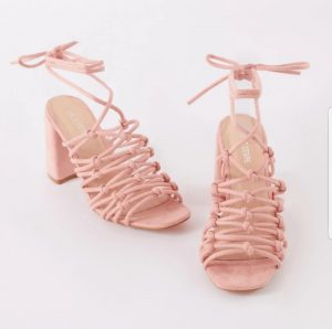 Pink Suede Block Lace Up