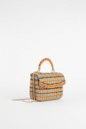 Coloured Plaited Straw Bag