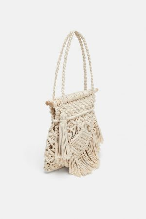 Fabric Straw Tote Bag