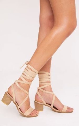 Cream Suede Lace Up Heel