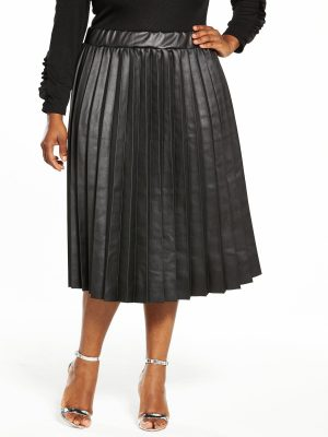 Lost Ink Plus Coated Pleated Skirt