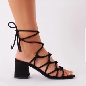 Knotted Black Lace Up Midi Heel