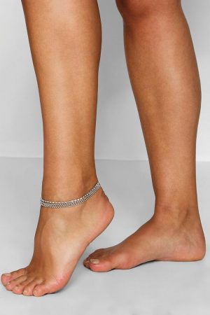 Plus Diamante Layered Anklet