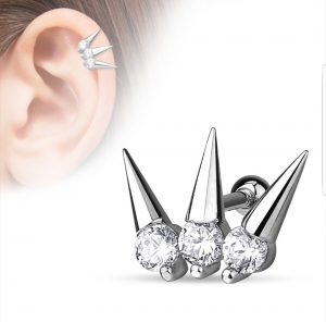 Helix piercing with three spikes with crystals
