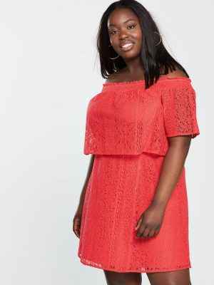 Orange Lace Bardot Dress