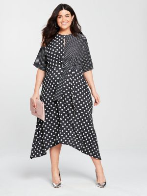 Curve Mixed Spot Print Dress