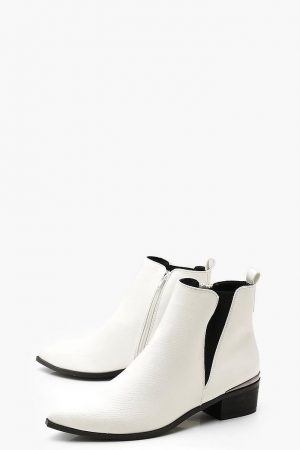 Pointed Toe Metalic Trim White Boot