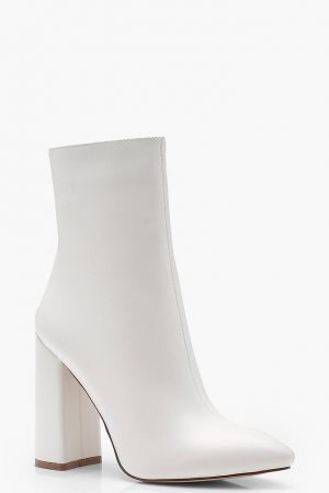 Pointed Toe White Sock Boots
