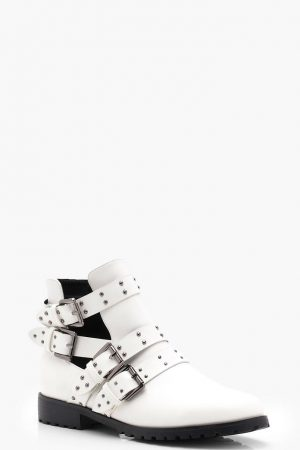Studded white chelsea boot
