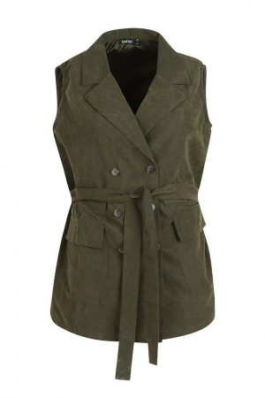 Plus Ruched Belted Sleeveless Horn Button Down Blazer