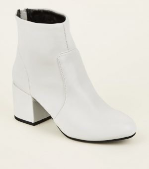 White Block Heel Boot