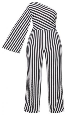 One Shoulder Stripe Jumpsuit