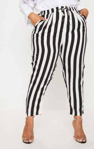 Plus stripe casual trouser