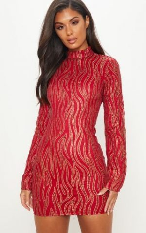 Red Glitter High Neck Dress