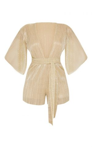 Gold Plisse Playsuit