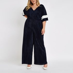 Plus Navy Plisse Jumpsuit