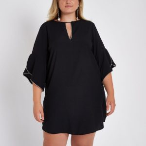Cut Out Frill Sleeve Dress