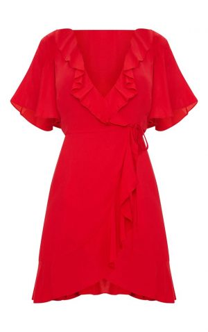 Red Wrap Tea Dress