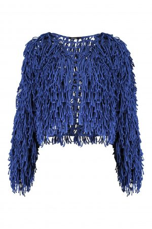 Denim Shaggy Cardigan