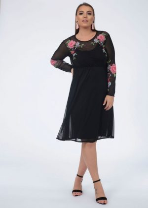 plus abina floral long sleeve overlay mesh dress