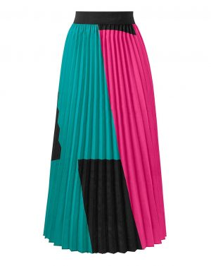 Colour Block Pleated Skirt