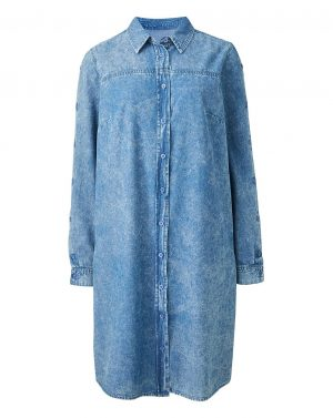 Acid Wash Denim Shirt Dress