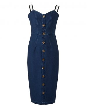 Front Button Denim Dress