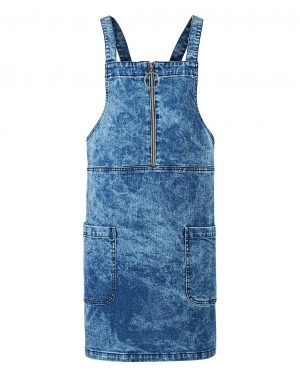 Acid Wash Denim Zip Pinafore